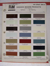 1969 Lincoln Continental Mark III Paint Chips Color Chart R-M 69