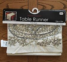 Bed Bath Beyond Rhinestones Table Runner Fairy Dust 13' X 72'IVORY Retail $29.99