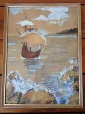 Vintage Outsider Art Framed Sailing Tall Ship Ocean Nautical Painting Drawing