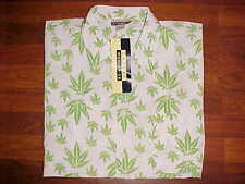 Skoops Worldwide Marijuana Cannabis Collage Green White Men Button Shirt 2XL New