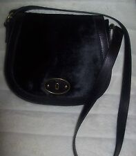 FOSSIL Cross Body Flap bag VRI Vintage  Black Calf Hair Leather New $218