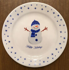 "SALE: ""Happy Holidays"" Glass Plate (White) Snowman / Snowflakes (Blue) (ss)"