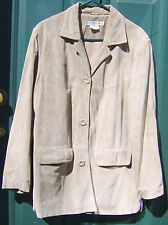 Women's JESSICA HOLBROOK Tan Suede Leather Jacket size M coat blazer