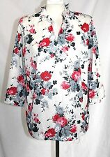 Vintage 70's - L  - Black, Pink, & White Floral Sateen Polyester Tunic Knit Top