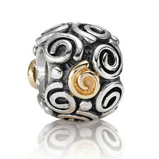 ORIGINAL PANDORA ELEMENT BEAD SILBER GOLD 790414 SILBERLOCKEN MIT GOLD BICOLOR