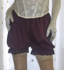 Vintage inspired dark purple silky nylon gusset frilly bloomers knicker panties