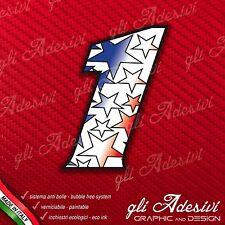 Adesivo Stickers NUMERO 1 moto auto cross gara STAR Blu & Rosso