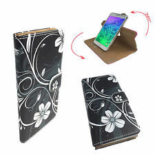 Mobile Phone Book Cover Case For Panasonic Eluga Mark 2 - Flower Black L