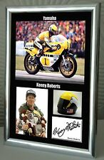 "Kenny Roberts Motor Cycle Framed Canvas Print Signed ""Great Gift"""