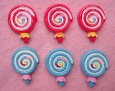 20 Swirl Lollipop Red & Blue Resin Flatback Button/Craft/Scrapbooking/decor B126