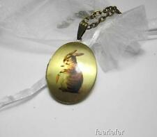 Vintage style antique Bronze bunny rabbit locket necklace opens cute Easter gift
