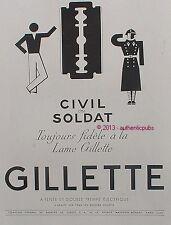 PUBLICITE GILETTE LAME DE RASOIR CIVIL OU SOLDAT TOULOURS FIDELE DE 1940 AD PUB