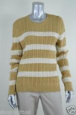 Charter Club New Tan Striped Cable Knit Ribbed Pullover Sweater MSRP$69 Petite S