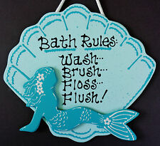 MERMAID SEASHELL Bath Rules SIGN Bathroom Hanging Wall Plaque Tropical Decor