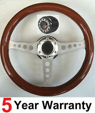 CLASSIC 3 SPOKE WOOD RIM WOODEN STEERING WHEEL AND BOSS KIT HUB FIT ALL NISSAN