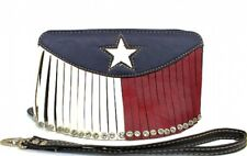 Texas State Flag Wallet Red White Blue w Fringe and Lone Star New