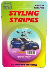 Oro 3 mm Pin Stripe coachline Cinta X 10 Metros