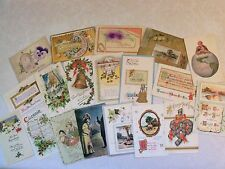PRE-LINEN HAPPY NEW YEAR 19 POSTCARD LOT MANY EMBOSSED 1900s+ MOST  100 YRS OLDb