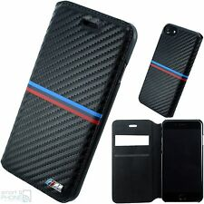"BMW M Carbon Look iPhone 7 4,7"" Handy Cover Book Case Schutz Hülle Tasche black"