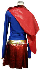 Adult Lady Women Supergirl Superhero Uniform Halloween Costume Outfit Dress Cape