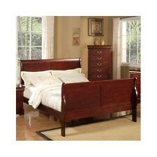 Queen Sleigh Bed Cherry Platform Wood Headboard Footboard Bedroom Furniture NEW