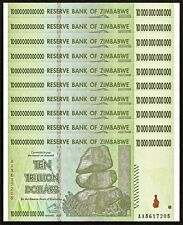 ZIMBABWE 10 Trillion Dollars X 10 PCS, 1/10 Bundle, AA, 2008, P-88, UNC