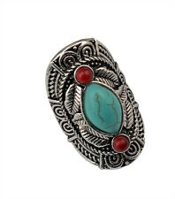 Bohemian style tibet silver design red turquoise gem stone rings for women