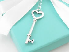 Tiffany Co Silver Large Heart Key Necklace Pendant Oval Link 18.75 Inches