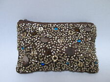Brown Gold Bronze Sparkly Sequin Bead Coin Purse Credit Card Wallet #2F10