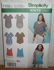 Womens/Misses Tops Tunics Blouses Sewing Pattern/Simplicity 1160/SZ XXS-XXL/UCN