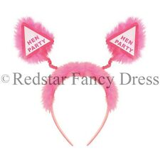 HEN PARTY FANCY DRESS HEAD BOPPERS PINK FLUFFY FUR HEN BRIDE TO BE NIGHT OUT