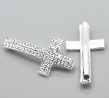 5PCs Silver Plated Clear Rhinestone Cross Curve Tube Spacer Beads 4.7x2.4cm