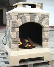 New 2016 Tuscan Stone Style Outdoor Backyard Fireplace Gas Fire Pit w/ Fire Logs