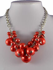 CHUNKY RED FAUX PEARL AND SILVER TONE LEAF CHARMS NECKLACE