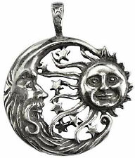Celestial Windblown Moon Sun Stars Pendant Amulet Pewter Shelter Cord Necklace