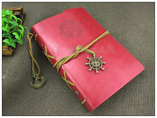"""7""""x5"""" Vintage Leather Cover Notebook Journal Diary Blank String Nautical Red"""