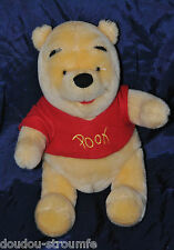 Peluche Doudou Ours Winnie DISNEY NICOTOY Jaune Tee Shirt Rouge 24 Cm Assis NEUF