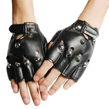 Unisex BLACK Punk Rock Studded LEATHER LOOK FINGERLESS GLOVES FANCY DRESS L6