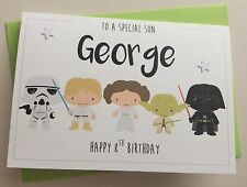 Handmade Personalised Cute Star Wars Birthday Card (Son Nephew Brother Grandson)