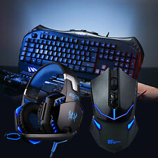 ARES K5 illuminare Gaming Tastiera Wired Cuffie Auricolare & Wireless Mouse Combo