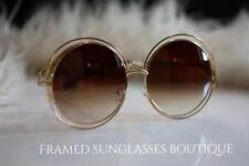 Luxe GOLD Designer CARLINA OVERSIZED Round SUNGLASSES Boho MARBS Vtg TOWIE