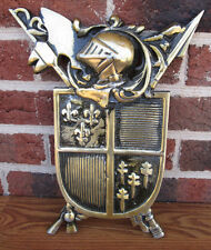 Hooded knight coat of arms 3D cast metal shield armor medieval style wall decor