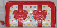 San X Rilakkuma Bear Zippered Long Red Leather Wallet Credit Cards Money Coins