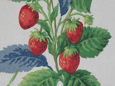 "SANDERSON CURTAIN FABRIC ""Summer Strawberries"" 3.7 METRES STRAWBERRY/LEAF"