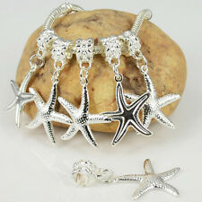 New 5PCS Silver Plated Dangle Starfish Charms Loose Beads Fit European Bracelet