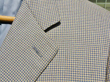 CANALI Brown Blue Grey Houndstooth Check Silk Wool Sport Coat 40 R ITALY