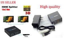 1 In 2 Out HDMI Splitter Amplifier Duplicator Full HD 1080p 3D V1.4 Foxtel DVD