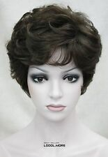 Medium Brown Short Curly Women ladies Daily Synthetic Full Wig FTLD219