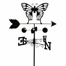BLACK 4.6FT METAL BUTTERFLY DESIGN WEATHERVANE METAL ORNAMENT DECOR WIND SPINNER