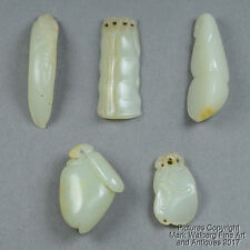 Lot of FIVE Chinese Nephrite Jade Pendants, Bean Pods, Peach, Bamboo, 18/19th C.